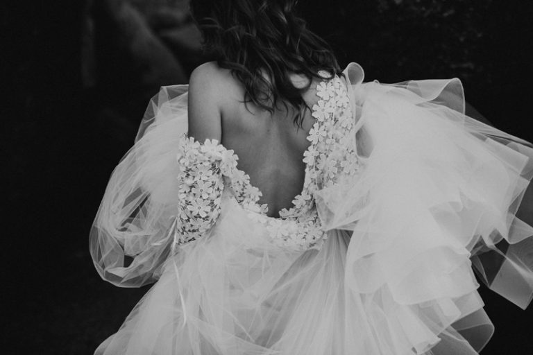 Family Photography, black and white of woman in bridal gown