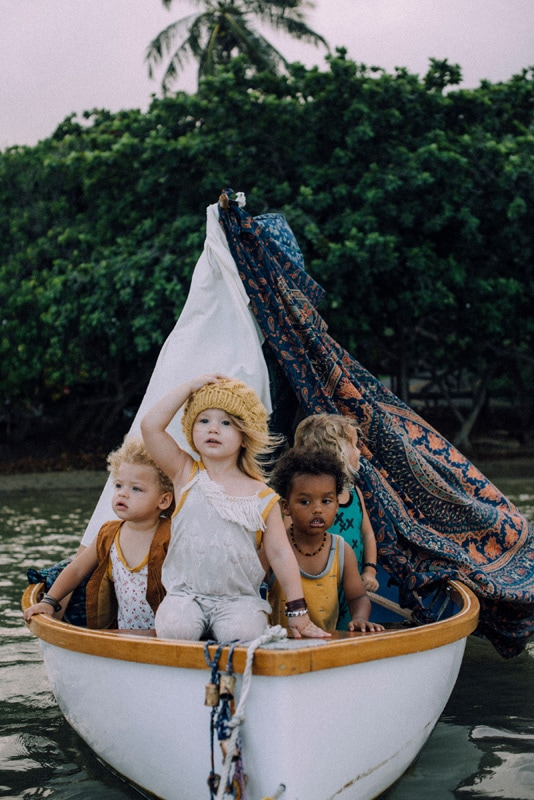 Family Photography, young children in a little boat