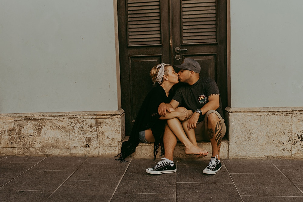 Hailey Faria Photography, Jacksonville, NC, Family Photographer, Hailey and her Husband kissing on a step